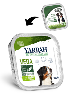 Yarrah hondenbrokjes in saus: Vegetarisch met Rozenbottels
