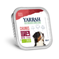 Yarrah hondenbrokjes in saus met rund, kip, peterselie en tijm, alucup